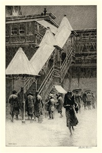 "snow on the ""el"" by martin lewis"