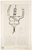 soldier and cat leading a bird chorus by saul steinberg