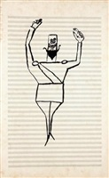 soldier conducting by saul steinberg