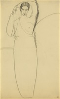 standing woman, left breast bared by amedeo modigliani