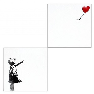 girl with balloon (diptych) by banksy