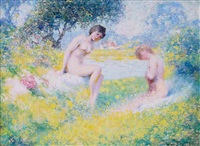two nudes in landscape by william henry clapp