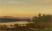 twilight with deer at lake's edge by james mcdougal hart