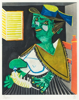 femme verte au chat (green woman with cat) by pablo picasso
