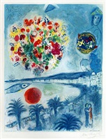 sunset from the nice and the côte d'azur series by marc chagall