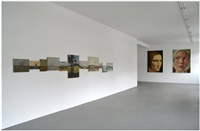 installation view 2014 (11 landschaftsgemälde mit horizont, frauenportraits, gross) by hans peter feldmann
