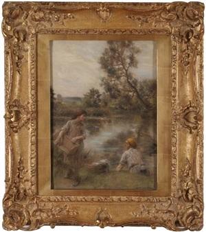 au bord de l'eau (at water's edge) by léon augustin l'hermitte