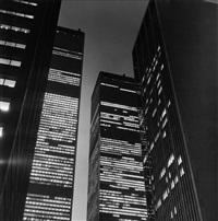the world trade center at night by peter hujar