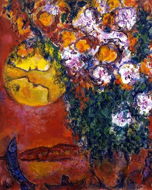 bouquet de lilium au bord de la mer by marc chagall