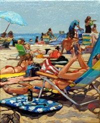 reading at the beach by roxann poppe leibenhaut