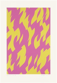 magenta and yellow by bridget riley