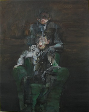 two figures with an armchair by nikos aslanidis