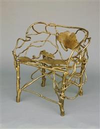 fauteuil pieds singerie avec feuilles ginkgo by claude lalanne