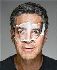 george clooney with mask; brooklyn, ny by martin schoeller