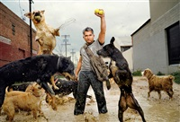 cesar millan with his dogs; south central los angeles, ca by martin schoeller
