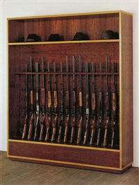 untitled (guns and hats) by haim steinbach