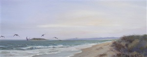 birds working the surf (sold) by james magner