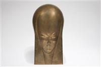 masque en cuivre repoussé et patiné brun-or by maurice pierre andre daurat