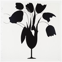 black tulips and vase by donald sultan
