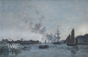 le havre, l'avant-port by eugène boudin