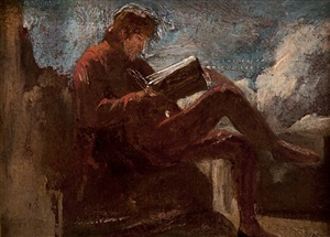 study of a man reading by thomas couture