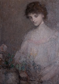 anna arranging flowers by julian alden weir