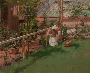 at the clothesline by irving ramsey wiles