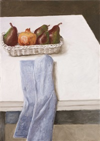 still-life with blue napkin by avigdor arikha