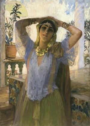 jeune femme sur une terrasse by frederick arthur bridgman