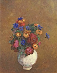 marigolds, cornflowers, and roses in a white vase by odilon redon