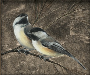 pair of chickadees (sold) by anne mcgrory