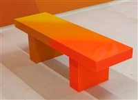 yellow to orange bench by andrew schoultz