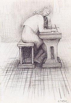 girl doing homework by henry moore