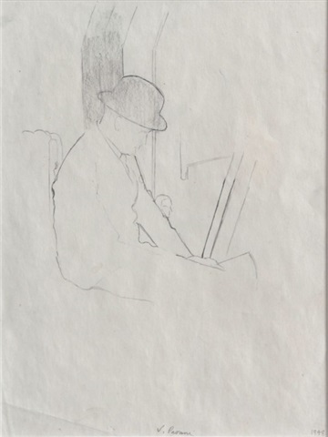 man in a bowler hat by victor pasmore