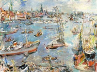 hamburg iii, view from the stülcken wharft to the harbor by oskar kokoschka