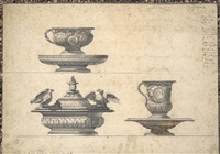 design for two cups with their platters, a small tureen and a small covered cup by giocondo albertolli