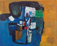 komposition gelb/blau/rot/schwarz by carl walter liner