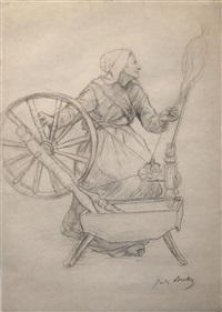 la femme au rouet by jules breton