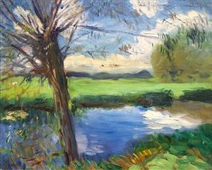 riverbank, near oxford by john singer sargent