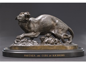 panther and cubs by henry kirke brown