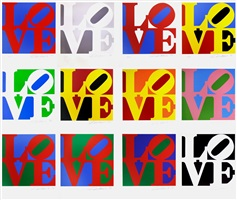 the book of love (full set of 12 prints + 12 poems) by robert indiana