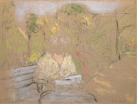 madame hessel in the garden of the clos cézanne by edouard vuillard