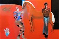harlequi, acrobat and horse by walter joseph gerard bachinski