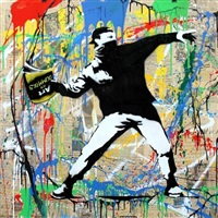 banksy thrower #4 by mr. brainwash
