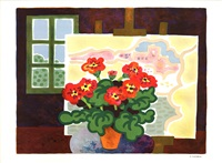 lot 92: geraniums, signed by guy charon