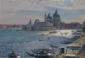 a view from a schiavoni balcony, santa maria della salute by john stobart
