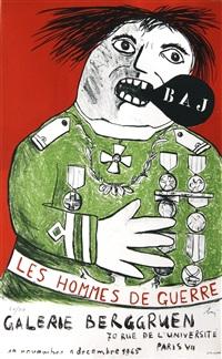 lot: 150 les hommes de guerre, signed by enrico baj