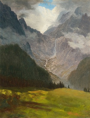 study for storm in the rocky mountains by albert bierstadt