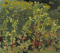 primroses and goldenrod by fairfield porter