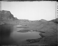 campsite reached by boat through watery canyons, lake powell by mark klett